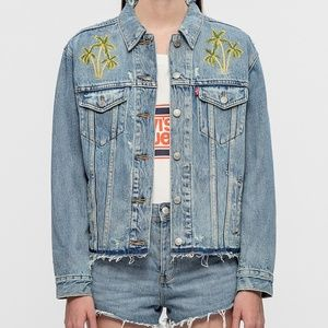 Levi's Denim Jean Jacket Embroidered  Palm Trees